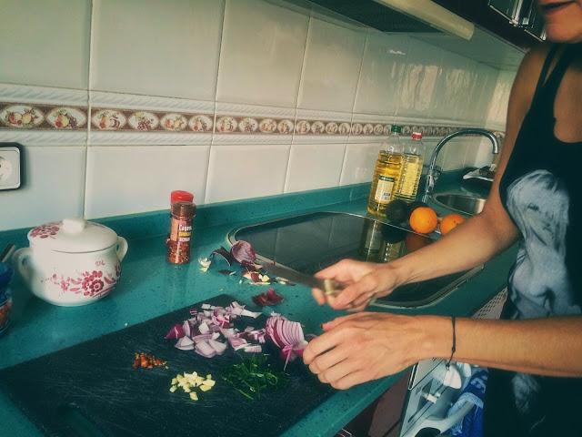 Picar los ingredientes